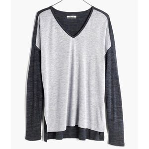 MADEWELL   oversized colorblock anthem top blouse